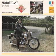 MOTO DA TURISMO MOT6OBECANE 175 Z 22 C FRANCIA 1955 DESCRIZIONE COMPLETA SUL RETRO AUTENTICA 100% - Advertising