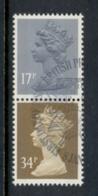 GB 1984 Machin 17p Grey-blue 2B, 34p Ocher Brown 2b FU - 1952-.... (Elizabeth II)