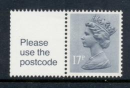 GB 1985 Machin 17p Grey-blue 2b + Label MUH - 1952-.... (Elizabeth II)