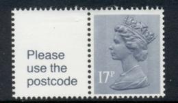 GB 1985 Machin 17p Grey-blue 2b + Label, Star Underprint MUH - 1952-.... (Elizabeth II)