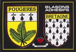 FOUGERES - BRETAGNE, BLASON, ECUSSON ADHESIF - CPM TBon Etat (voir Scan) - Fougeres