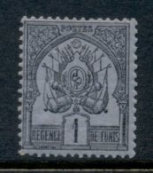 Tunisia 1888 Coat Of Arms 1c Black On Blue MLH - Tunisia (1956-...)