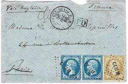 """1866, """" CEM-M """" Corps Exped. Mexique , Tres Claire ! Lettre Pour Paris #a1771 - Poststempel (Briefe)"""