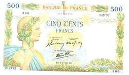 Billets > France > 500 Francs 8-5-1941.BH.  Une Petite Coupure En Bas - 1871-1952 Anciens Francs Circulés Au XXème