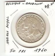 50 Francs 1960 ( Mariage Royal ) - 1951-1993: Baldovino I
