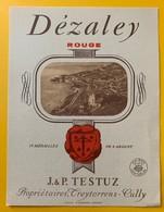 10701 - Dézaley Rouge  Suisse J & P Testuz Ancienne étiquette - Etiquetas