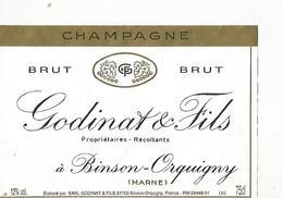 Etiquette Champagne Godinat Et Fils A Binson Orquigny - Champagne