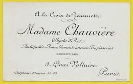 """Carte De Visite Commerciale """"A LA CROIX De JEANNETTE"""" Madame CHAUVIERE Objets D'Art Antiquités Quai Voltaire 75007 Paris - Cartoncini Da Visita"""