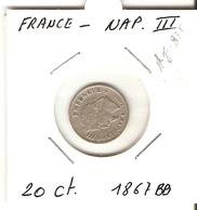 NAPOLEON III   ---  20 Ct. 1867 BB - France