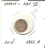 NAPOLEON III   ---  20 Ct. 1866 A - France