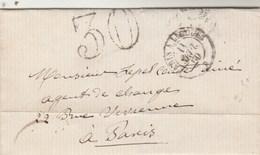 LSC Lettre Taxe Double Trait 30 Cachet Ambulant Paris à Limoges B 11/9/1860 à Paris - Marcophilie (Lettres)