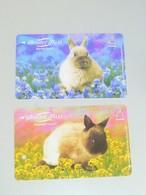 VINTAGE ! 2 Pcs. Singapore MRT Metro Train Card Ticket -  Bunny / Rabbit Tales   (L166A) - Tickets
