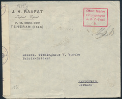 Iran 3. Reich Zensur Brief Teheran N. Remscheid Geöffnet Ohne Marke A.B.P. Post  - Deutschland