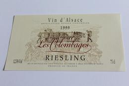 Etiquette De Vin Neuve Jamais Servie  VIN D ALSACE RIESLING   1999 LES COLOMBAGES CAVE EGUISHEIM - Blancs