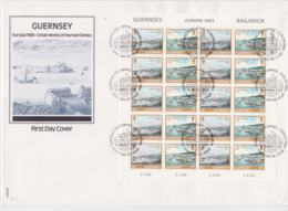 Guernsey 1983 FDC Europa CEPT Complete Sheet  (LAR**A27) - 1983