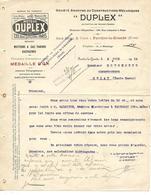 Facture 1913 / 59 FERRIERE LA GRANDE / PARIS Rue Lafayette / Constructeur Mécanique/Moteurs DUPLEX Gaz Pauvre, Gazogènes - France