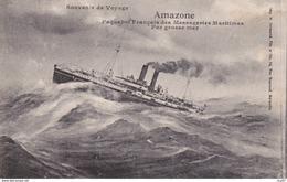 """CPA  Paquebot Français Des Messageries Maritimes """"AMAZONE"""" , Par Grosse Mer. ...D136 - Steamers"""