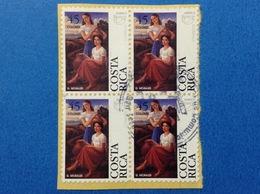 1996 COSTA RICA QUARTINA AMERICA UPAEP 45 C FRANCOBOLLO USATO STAMP USED - Costa Rica