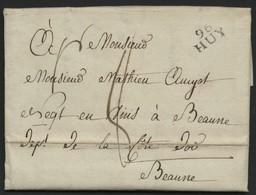 """1809 """"96/ HUY"""" En Noir S/ Lettre Datée De Havelange Le 30/08/1809 Et Adressée à Beaune (Bourgogne). Voir Description - 1794-1814 (Französische Besatzung)"""