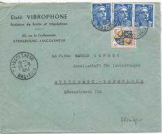 LETTRE POUR L'ALLEMAGNE 1954 AVEC 4 TIMBRES TYPES MARIANNE DE GANDON / BLASON DU DAUPHINE - Marcofilia (sobres)