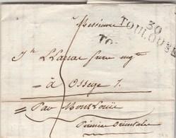 Lettre Facture Avec échantillon Tissu Marcoul Dupau Marque Postale 30 TOULOUSE Haute Garonne 1817 à Osseja PO - Marcophilie (Lettres)