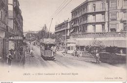 CPA  ORAN (Algérie).  L' Hôtel Continental Et Le Boulevard Séguin, Animé, Tramways, Commerce. ..C150 - Oran