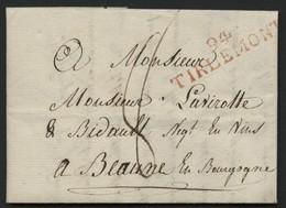 """1814 """"94 / TIRLEMONT"""" (47*11) En Rouge S/ Lettre Datée Du 25/04/1814 Adressée à Beaune (Bourgogne). Voir Description - Storia Postale"""