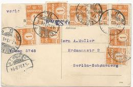 CARTE POSTALE 1907 POUR L'ALLEMAGNE AVEC 10 TIMBRES - Briefe U. Dokumente