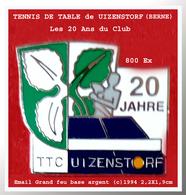 SUPER PIN'S TENNIS De TABLE : Pour Les 20 ANS Du TENNIS De TABLE D'UTZENSTORF En Saar Allemagne 800 Ex Email Grand Feu - Tennis De Table