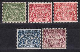 Bayern Dienstmarken 25-29 Staatswappen, Satz Komplett 5 Werte Postfrisch ** - Bayern