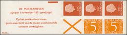 Markenheftchen 11-a Königin Juliane Und Ziffer 1971, Reklame Mit PB 11-a, ** - Heftchen Und Rollen