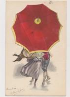 Carte Fantaisie à Système / Couple Caché Sous Un Parapluie - Couples