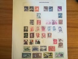 PAGINA PAGE ALBUM CECOSLOVACCHIA CZECHOSLOVAKIA 1940 PERSONALITA  ATTACCATI PAGE WITH STAMPS COLLEZIONI LOTTO - Collezioni & Lotti