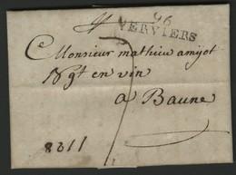 """1803 """"96 / VERVIERS"""" (36*10) En Noir S/ Lettre Pour Beaune (Bourgogne). TB. Voir Description - 1794-1814 (Französische Besatzung)"""