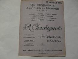 VIEUX PAPIERS - 75 PARIS - CATALOGUE (8 Pages) : Quincaillerie Et Articles De Ménage En Gros R. CHACHIGNOT - Advertising