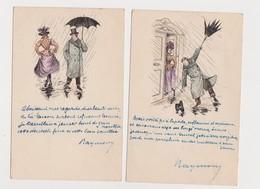 2 Cartes Fantaisie Humoristiques Dessinées / Couple / Parapluie - Couples