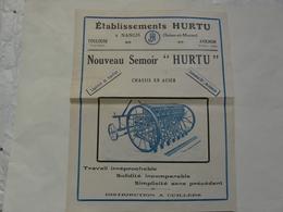 """VIEUX PAPIERS - 77 NANGIS : ETS HURTU - Nouveau Semoir """"HURTU"""" Chassis En Acier - Advertising"""