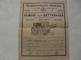 VIEUX PAPIERS - 77 NANGIS - PROSPECTUS : ETS HURTU - Semoir Pour Betteraves - Advertising