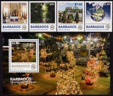 Barbados - 2018 - Christmas - Centenary Of Royal Commonwealth Society - Mint Stamp Set + Souvenir Sheet - Barbados (1966-...)