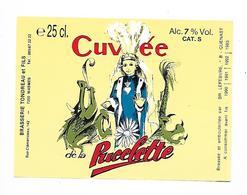 ETIQUETTE BIERE CUVEE PUCELETTE / BR. TONDREAU & FILS / 7200 WASMES - Beer