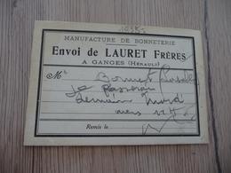 Carte D'envoi De Lauret Frères Manufacture De Bonneterie Ganges Hérault - Textilos & Vestidos