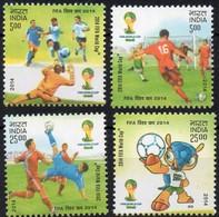 India 2014 Set/4 Stamp FIFA World Cup, Football .  Mnh - India