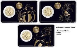 Frankreich - 2 Euro Gedenkmünze 2019 - Asterix - Alle 3 Karten - France