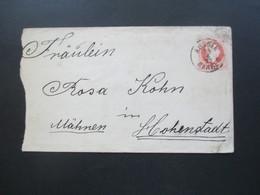 Österreich 1877 GA Umschlag Stempel K1 Aussee Mähren Und Rückseitig Hohenstadt Stadt Und Hohenstadt Bahnhof - 1850-1918 Imperium