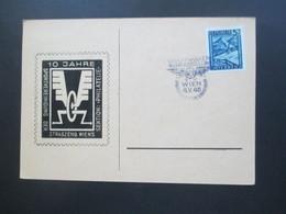 Österreich 1946 Landschaften Sonderkarte / SST Briefmarken Werbeschau Wien. 10 Jahre Sportvereinigung Der Straszenb. - 1945-60 Briefe U. Dokumente