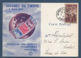 France Carte Maximum - Journée Du Timbre - Fédération Des Sociétés Philatéliques Française - 1939 - Maximumkarten