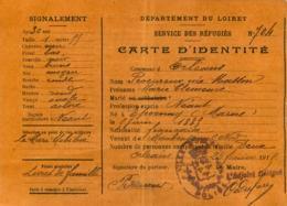 SERVICE DES REFUGIES DEPARTEMENT DU LOIRET CARTE D'IDENTITE 1915 - 1914-18