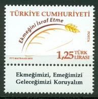 AC - TURKEY STAMP -  PREVENTING BREAD WASTE MNH 19 JANUARY 2015 - 1921-... República