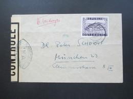 Österreich 1948 Landschaften Nr. 850 EF Zensurbeleg Innsbruck - München Controlè IKA Und R1 15 - 1945-60 Briefe U. Dokumente