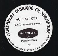 Etiquette Fromage Camembert Normandie 45%mg Nicolas Sélectionné Par FDD Lyon - Cheese